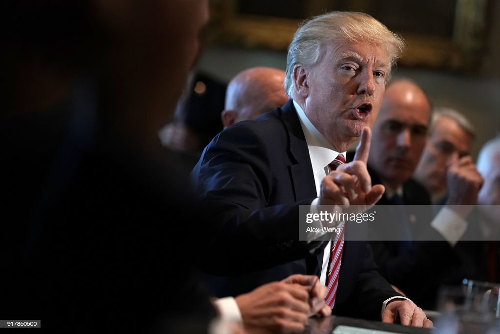U.S. President Donald Trump speaks during a meeting with congressional members in the Cabinet Room of the White House February 13, 2018 in Washington, DC. President Trump held a meeting with congressional members to discuss trade.