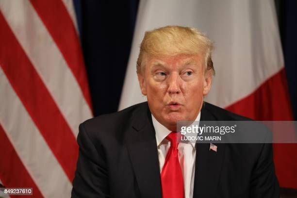 US President Donald Trump speaks during a meeting with his French counterpart in New York on the sidelines of the 72nd session of the United Nations...