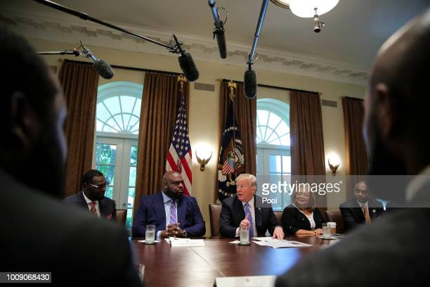 US President Donald Trump speaks during a meeting with inner city pastors in the Cabinet Room of the White House on August 1 2018 in Washington DC