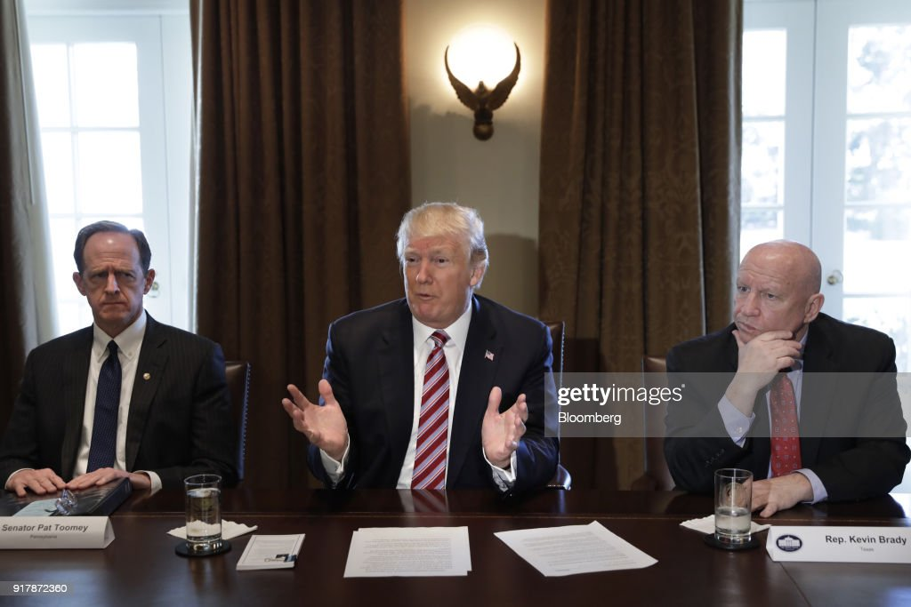 U.S. President Donald Trump speaks during a meeting with Members of Congress on trade at the White House in Washington, D.C., U.S., on Tuesday, Feb. 13, 2018. Republican lawmakers cautioned Trumpin a White House meeting against levying tariffs on steel and aluminum imports, warning that it would raise prices of the metals and potentially cost the U.S. jobs in other industries including car manufacturing. Photographer: Yuri Gripas/Bloomberg via Getty Images