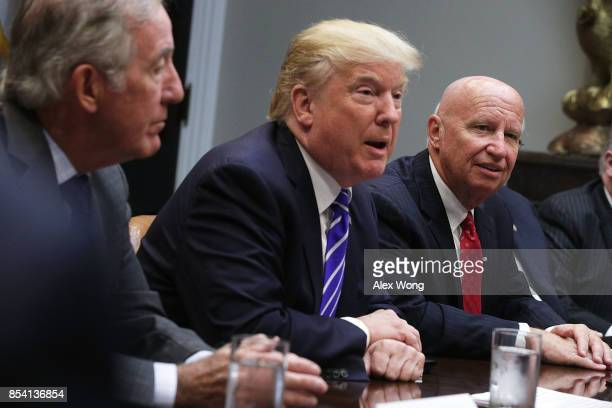 S President Donald Trump speaks during a meeting with members of the House Ways and Means Committee as committee chairman Rep Kevin Brady and ranking...