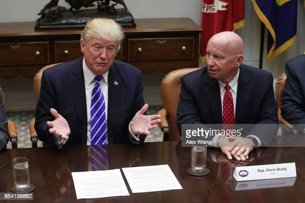 S President Donald Trump speaks during a meeting with members of the House Ways and Means Committee as committee chairman Rep Kevin Brady listens...
