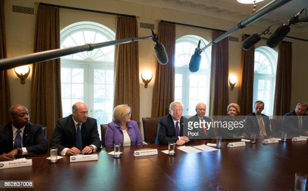 US President Donald Trump speaks during a meeting with members of the Senate Finance Committee and his economic team October 18 2017 at the White...