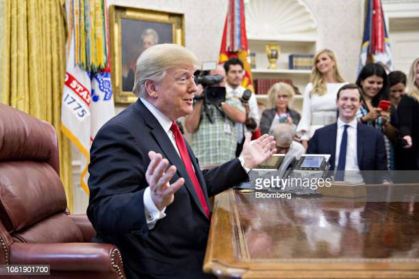 US President Donald Trump speaks during a meeting with rapper Kanye West not pictured in the Oval Office of the White House on Thursday Oct 11 2018...