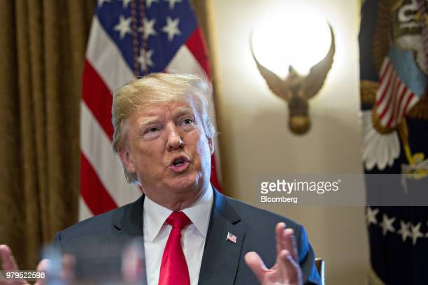 US President Donald Trump speaks during a meeting with Republican members of Congress in the Cabinet Room of the White House in Washington DC US on...