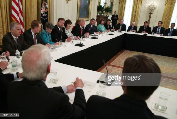 S President Donald Trump speaks during a meeting with Senate Republicans at the East Room of the White House June 27 2017 in Washington DC President...