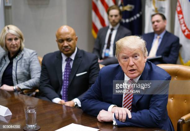 US President Donald Trump speaks during a meeting with state and local officials on school safety in the Roosevelt Room of the White House on...
