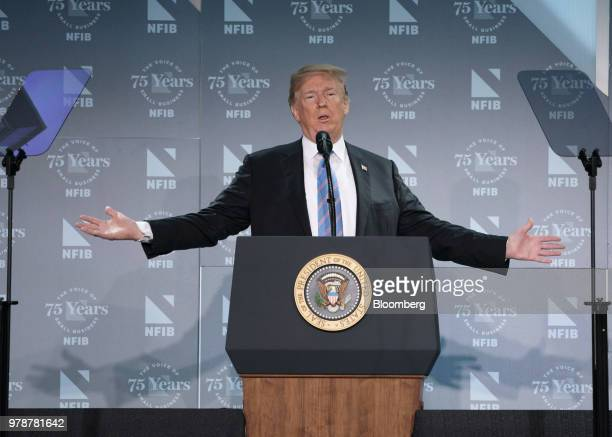 US President Donald Trump speaks during a National Federation of Independent Businesses 75th anniversary celebration in Washington DC US on Tuesday...