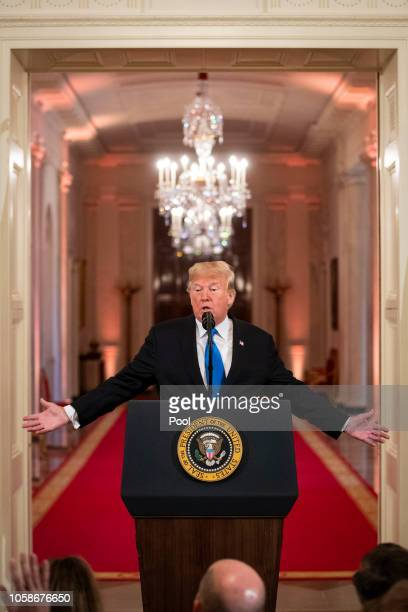 US President Donald Trump speaks during a news conference a day after the midterm elections on November 7 2018 in the East Room of the White House in...