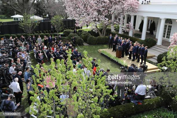 President Donald Trump speaks during a news conference about the ongoing global coronavirus pandemic in the Rose Garden of the White House March 13,...
