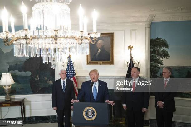 US President Donald Trump speaks during a news conference at the White House in Washington DC US on Wednesday Oct 23 2019 Trumpsaid he is lifting...