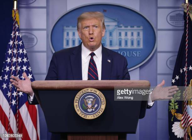 President Donald Trump speaks during a news conference in the James Brady Briefing Room of the White House July 30, 2020 in Washington, DC. Earlier...