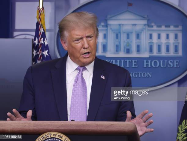 President Donald Trump speaks during a news conference in the James Brady Press BriefingRoom of the White House on August 5, 2020 in Washington, DC....