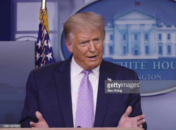 S President Donald Trump speaks during a news conference in the James Brady Press BriefingRoom of the White House on August 5 2020 in Washington DC...