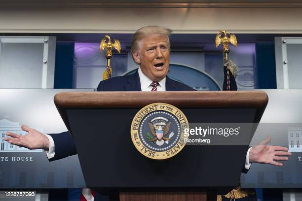 US President Donald Trump speaks during a news conference in the James S Brady Press Briefing Room at the White House in Washington DC US on Sunday...