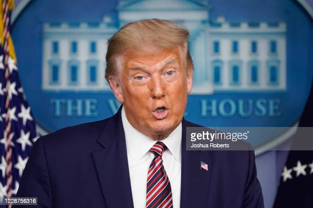 President Donald Trump speaks during a news conference in the Briefing Room of the White House on September 27, 2020 in Washington, DC. Trump is...
