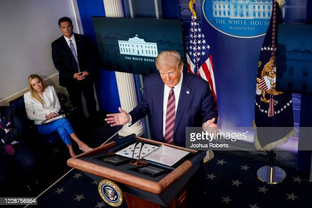S President Donald Trump speaks during a news conference in the Briefing Room of the White House on September 27 2020 in Washington DC Trump is...