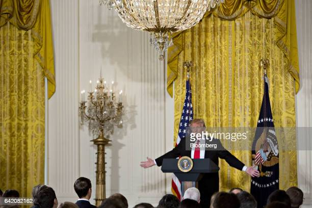US President Donald Trump speaks during a news conference to announce Alexander Acosta as US labor secretary nominee in the East Room of the White...