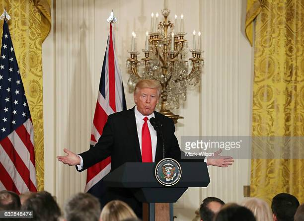 S President Donald Trump speaks during a news conference with British Prime Minister Theresa May in the East Room of the White House January 27 2017...