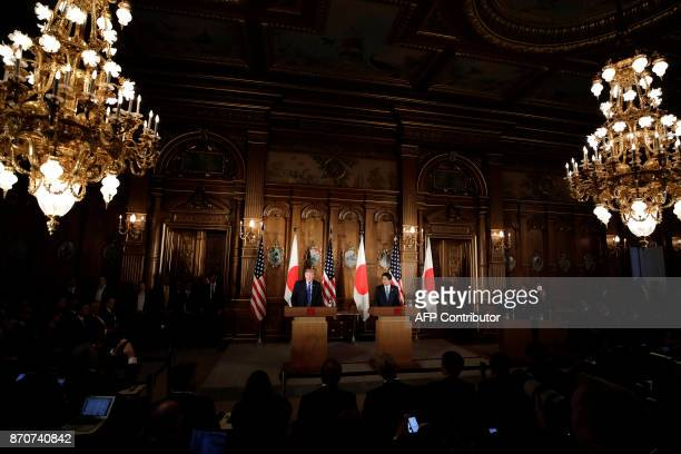 US President Donald Trump speaks during a news conference with Japan's Prime Minister Shinzo Abe at Akasaka Palace in Tokyo on November 6 2017 / AFP...