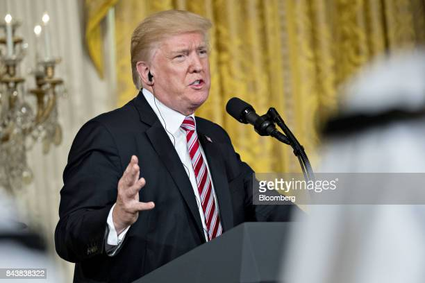 US President Donald Trump speaks during a news conference with Sheikh Sabah AlAhmed AlSabah Kuwait's emir not pictured in the East Room of the White...