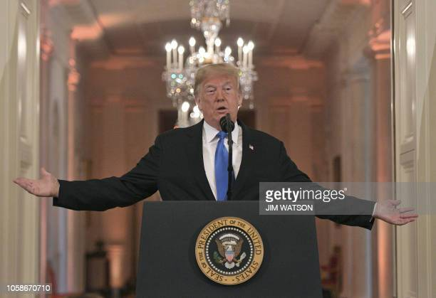 US President Donald Trump speaks during a postelection press conference in the East Room of the White House in Washington DC on November 7 2018