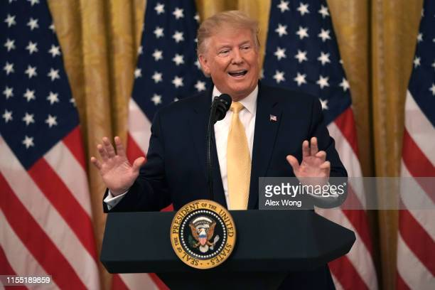 "S President Donald Trump speaks during a ""Presidential Social Media Summit"" in the East Room of the White House July 11 2019 in Washington DC..."