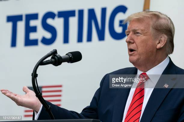 S President Donald Trump speaks during a press briefing about coronavirus testing in the Rose Garden of the White House on May 11 2020 in Washington...