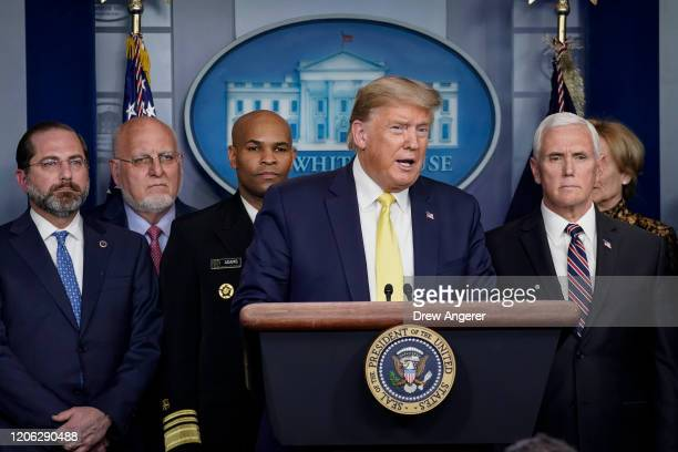 President Donald Trump speaks during a press briefing with members of the White House Coronavirus Task Force team in the press briefing room of the...