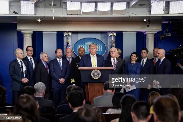 S President Donald Trump speaks during a press briefing with members of the White House Coronavirus Task Force team in the press briefing room of the...