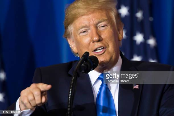 President Donald Trump speaks during a press conference after the G-20 Summit on June 29, 2019 in Osaka, Japan. Trump and Chinese President Xi...