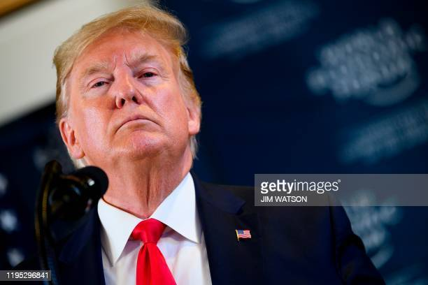 US President Donald Trump speaks during a press conference at the World Economic Forum in Davos Switzerland on January 22 2020
