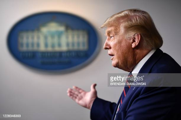 President Donald Trump speaks during a press conference in the James S. Brady Briefing Room of the White House on September 4 in Washington, DC.