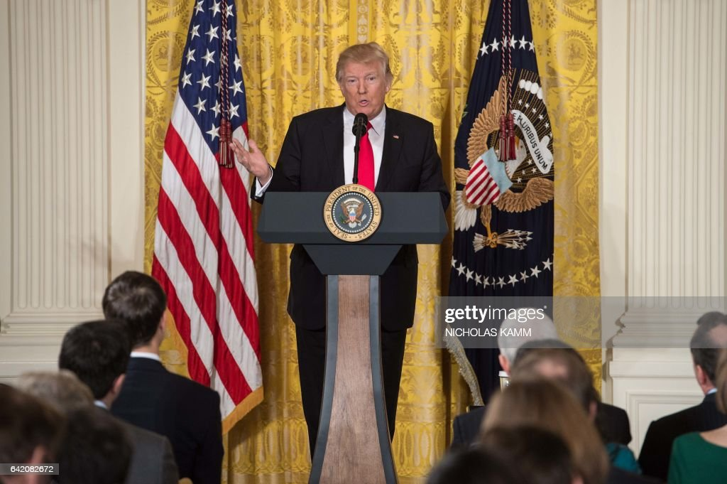 President Donald Trump speaks during a press conference on February 16, 2017, at the White House in Washington, DC. / AFP / NICHOLAS
