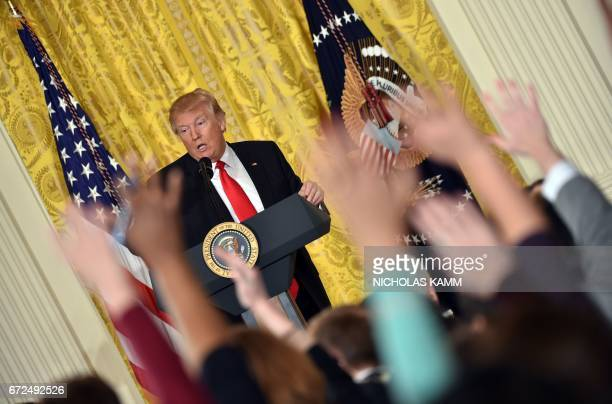 US President Donald Trump speaks during a press conference on February 16 at the White House in Washington DC While the new US president has shown a...