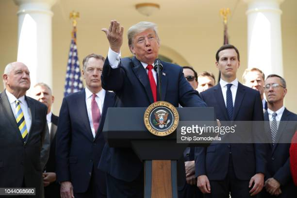 S President Donald Trump speaks during a press conference to discuss a revised US trade agreement with Mexico and Canada in the Rose Garden of the...