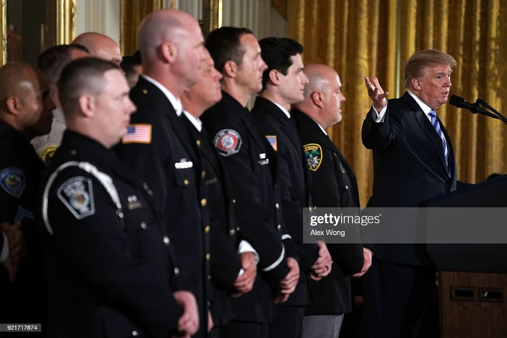 U.S. President Donald Trump speaks during a Public Safety Medal of Valor award ceremony at the East Room of the White House February 20, 2018 in Washington, DC. The medal is the nation's highest award to public safety officers who have 'exhibited exceptional courage, regardless of personal safety, in the attempt to save or protect human life.'