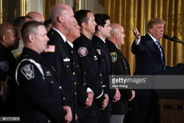 S President Donald Trump speaks during a Public Safety Medal of Valor award ceremony at the East Room of the White House February 20 2018 in...
