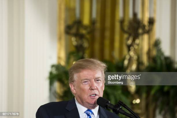 US President Donald Trump speaks during a Public Safety Medal of Valor awards ceremony in the East Room of the White House in Washington DC US on...