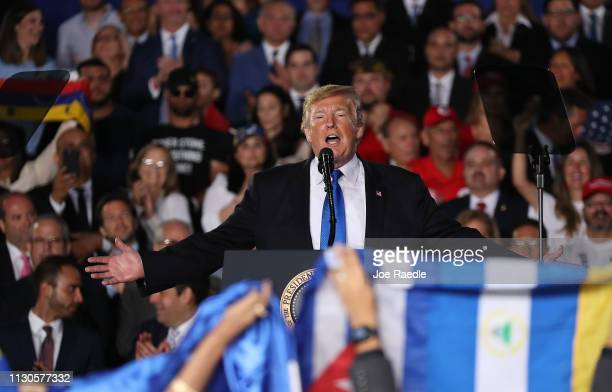 President Donald Trump speaks during a rally at Florida International University on February 18, 2019 in Miami, Florida. President Trump spoke about...