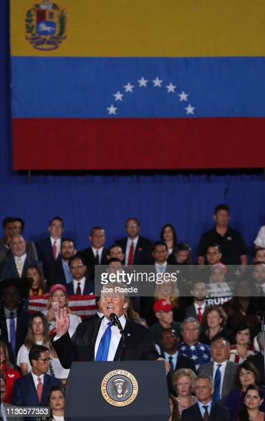 President Donald Trump speaks during a rally at Florida International University on February 18 2019 in Miami Florida President Trump spoke about the...