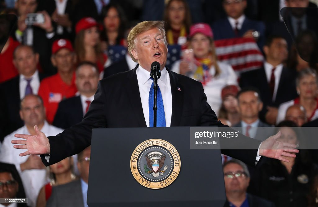 President Trump Speaks To Venezuelan Community In Miami At Florida International University : News Photo