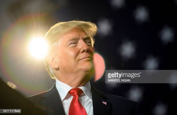US President Donald Trump speaks during a rally at Olentangy Orange High School in Lewis Center Ohio on August 4 2018