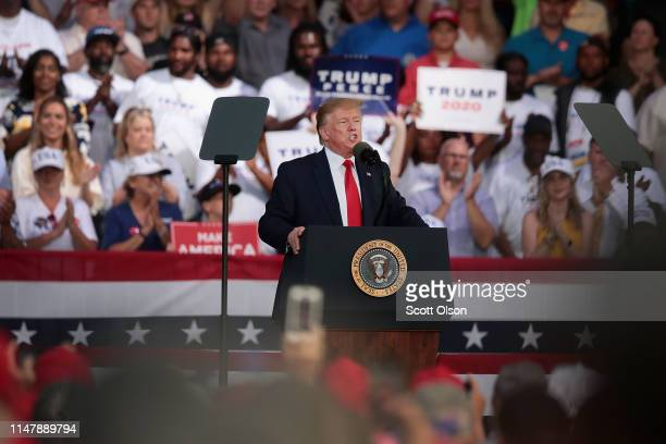 S President Donald Trump speaks during a rally at the Aaron Bessant Amphitheater on May 8 2019 in Panama City Beach Florida In his continuing battle...