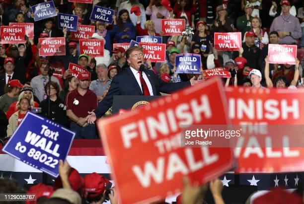S President Donald Trump speaks during a rally at the El Paso County Coliseum on February 11 2019 in El Paso Texas Trump continues his campaign for a...