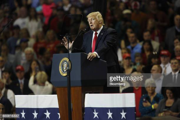 US President Donald Trump speaks during a rally at the Kentucky Exposition Center in Louisville Kentucky US on Monday March 20 2017 President Trump...