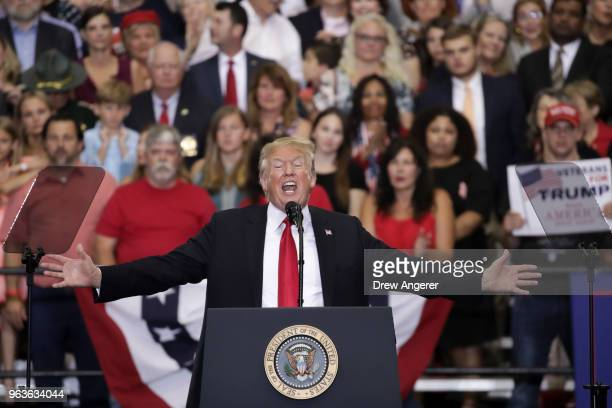 S President Donald Trump speaks during a rally at the Nashville Municipal Auditorium May 29 2018 in Nashville Tennessee Earlier in the day President...