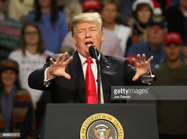 S President Donald Trump speaks during a rally at the Pensacola Bay Center on December 8 2017 in Pensacola Florida Mr Trump gave a further...