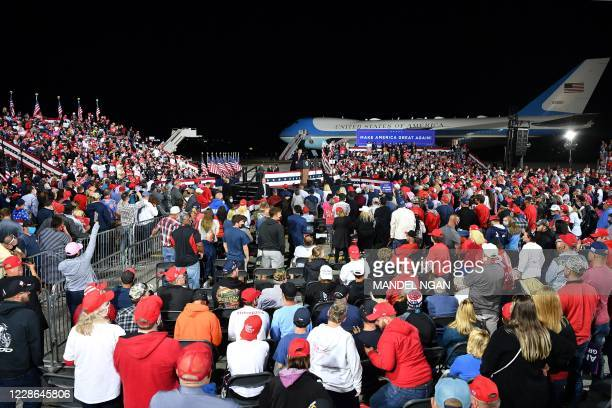 President Donald Trump speaks during a rally at Toledo Express Airport in Swanton, Ohio on September 21, 2020.