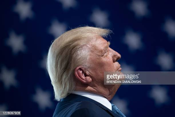 President Donald Trump speaks during a rally at Yuma International Airport August 18 in Yuma, Arizona.